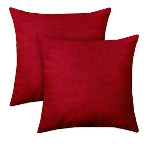 Set of 2 Velvet Pillow Covers 18 x 18 inches Red